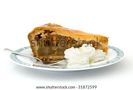 A piece of apple pie with whipped cream on a white background - stock photo