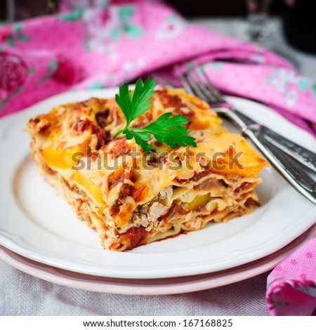 A Piece of Chicken and Pumpkin Lasagna, shallow dof, copy space for your text, square - stock photo
