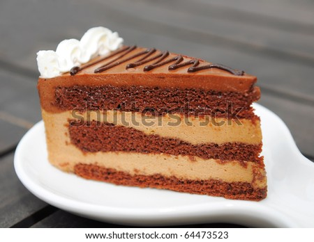 A piece of CHOCOLATE Cake sliced - stock photo