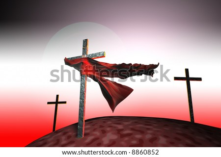A piece of cloth caught on a cross in sunset - stock photo