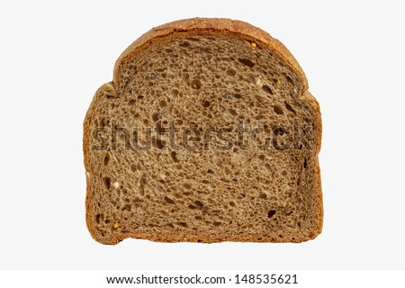 a piece of crusty bread on a white background - stock photo