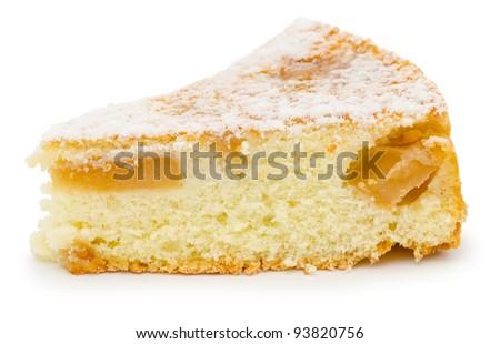 a piece of fresh charlotte apple cake - stock photo