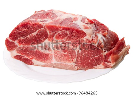 A piece of frozen meat isolated on a white background