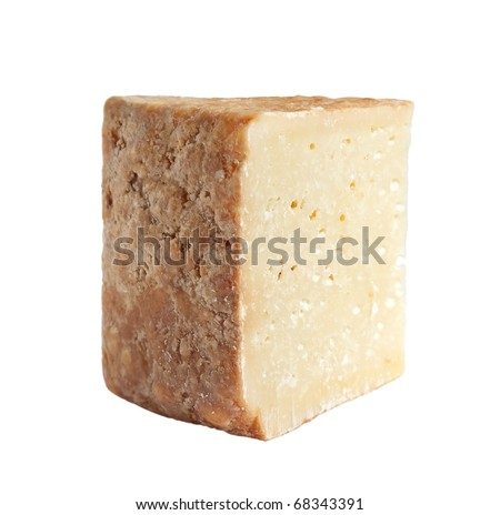 a piece of goat cheese isolated on white - stock photo