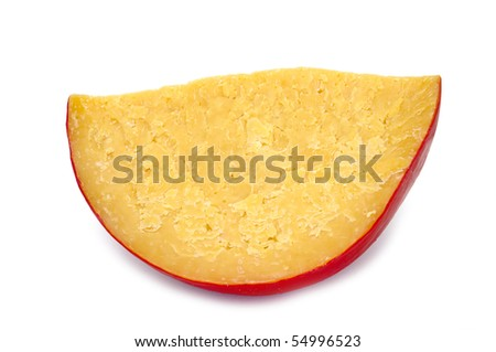 a piece of hard cheese isolated on a white background - stock photo