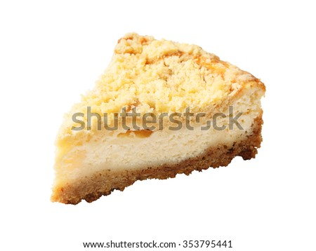 "A piece of Homemade curd pie - ""King cheesecake""  isolated over white background. - stock photo"