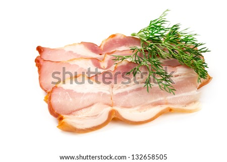A piece of pork ham isolated on white background