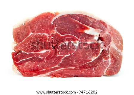 A piece of pork isolated on white background