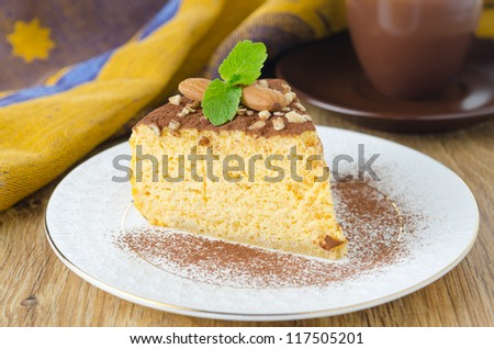 a piece of pumpkin cheesecake closeup