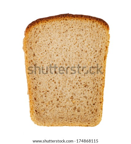a piece of rye bread isolated on white background
