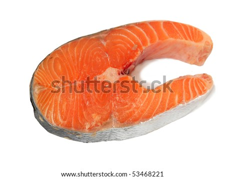 a piece of salmon isolated on a white background - stock photo