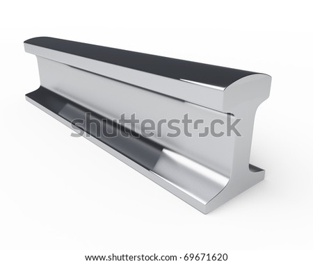 a piece of steel rail with slight shadow isolated over white background - stock photo