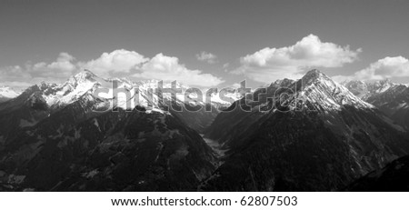 A piece of the Alps in black and white