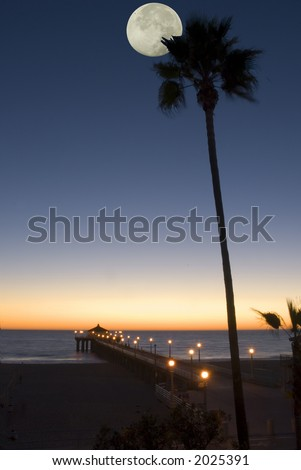 a pier, an ocean,and palm tree at sunset with a full moon - stock photo
