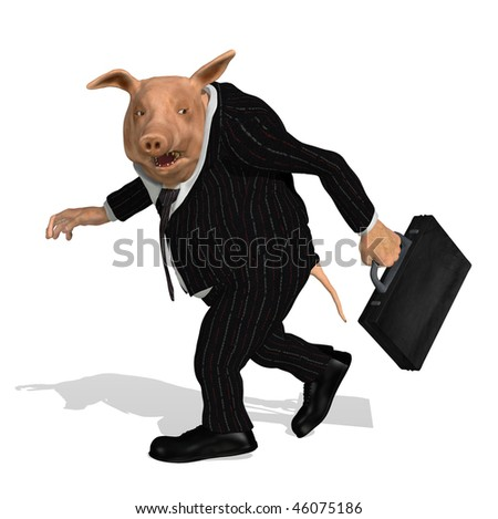 A pig dressed as a greedy corporate executive takes his bonus and walks away - 3D render. - stock photo