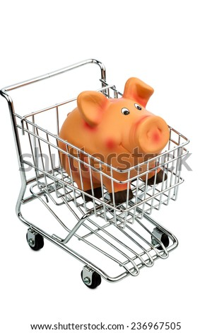 a piggy bank in a shopping cart, photo icon for consumer prices and buying behavior - stock photo