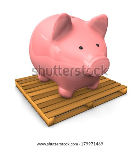 A piggy bank on the pallet on the white background. - stock photo