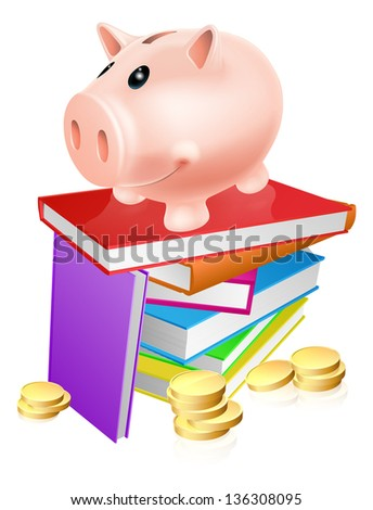 A piggy bank standing on a stack of books and surrounded by coins. Concept for eduction savings or other literacy related budget theme - stock photo