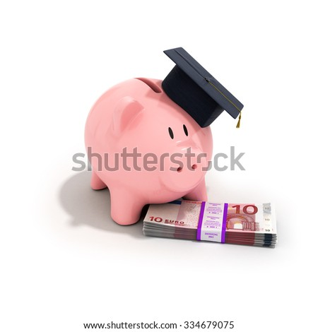 A piggy bank wearing a graduation cap with stack of euro bills on a white background, increased education costs