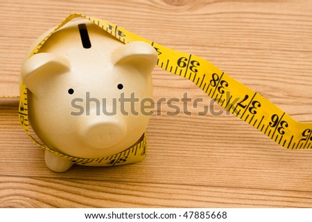 A piggy bank with a measuring tape, Measuring your success - stock photo