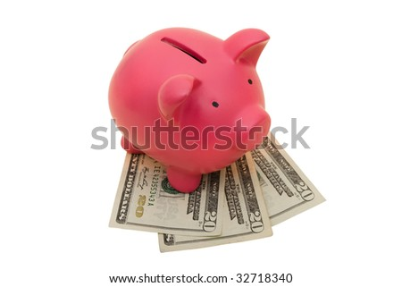 A piggy bank with twenty dollar bills isolated on a white background, piggy bank with clipping path