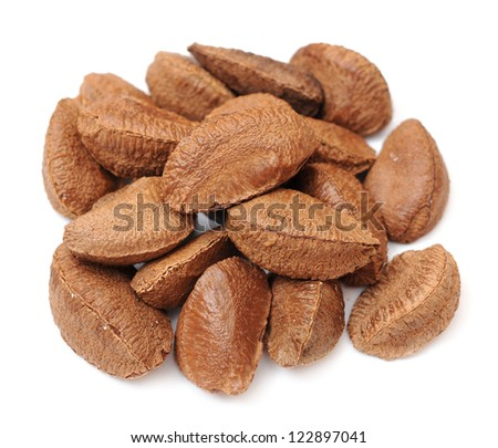 a pile brazil nut on white background