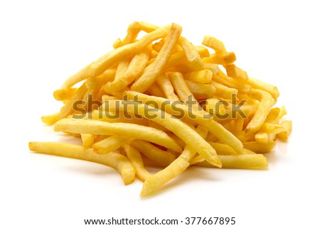 a pile of appetizing french fries on a white background - stock photo