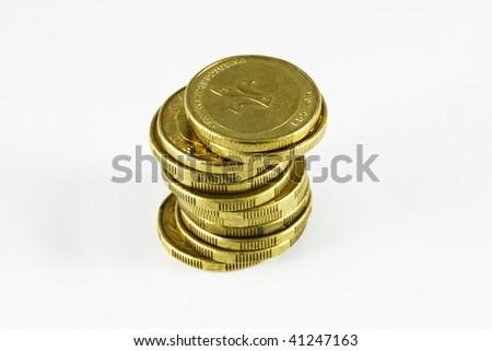 a pile of australian gold dollar coins - stock photo