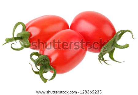 a pile of baby plum tomatoes on a white background - stock photo