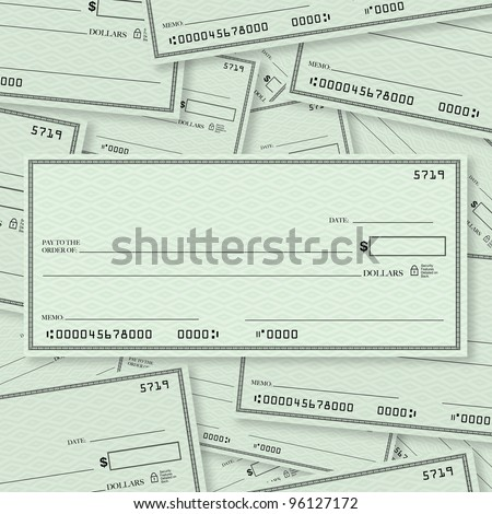 A pile of blank checks with a single check on top in straight layout with open spacing for you to place your own words - stock photo