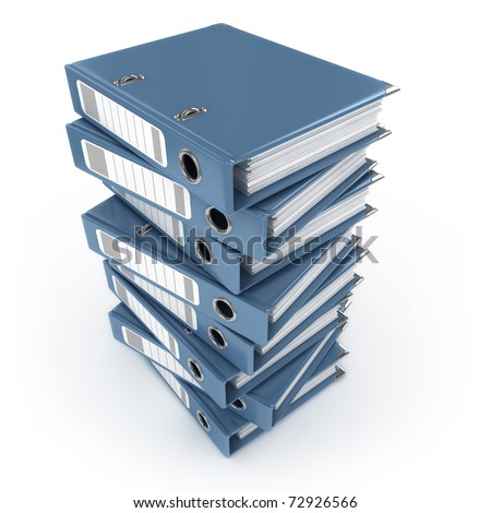 A pile of blue ring binders isolated on the white background - stock photo