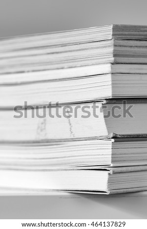 A pile of books black and white photo
