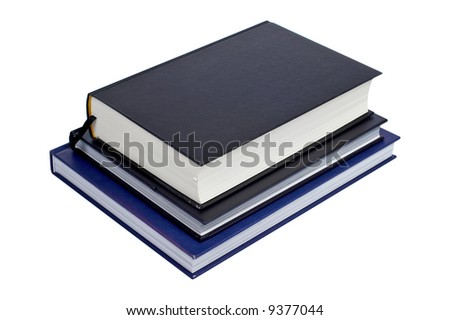 A pile of books isolated on white background. Path included