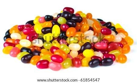 A pile of brightly colored bean shaed sweets