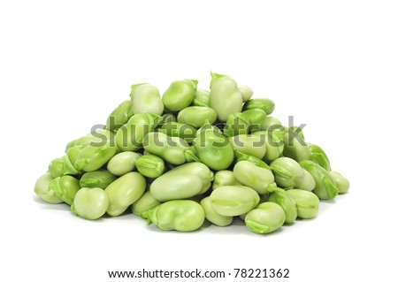 a pile of broad beans on a white background - stock photo