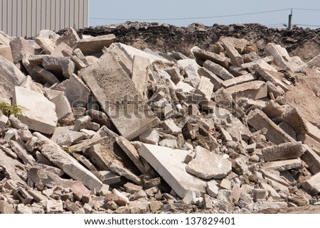 A pile of broken concrete for recycling into new aggregates