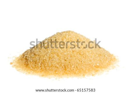A pile of brown sugar isolated on a white background - stock photo