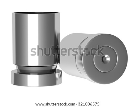 A pile of bullets and bullet shells on a white background - stock photo