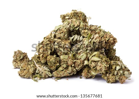 A pile of Cannabis buds that had been grown by hydroponic process, isolated on white background.