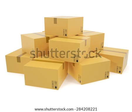 A pile of cardboard boxes isolated on white background for the delivery of business concept. 3d illustration High resolution