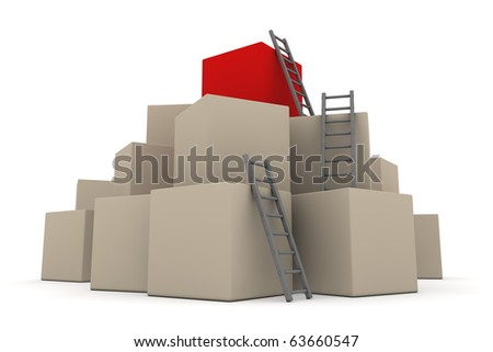 a pile of cardboard boxes - red box on top - three red glossy ladders are used to climb to the top