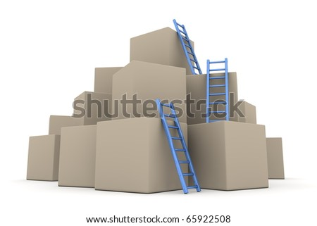 a pile of cardboard boxes - three blue glossy ladders are used to climb to the top