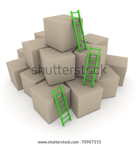 a pile of cardboard boxes - three green glossy ladders are used to climb to the top - stock photo
