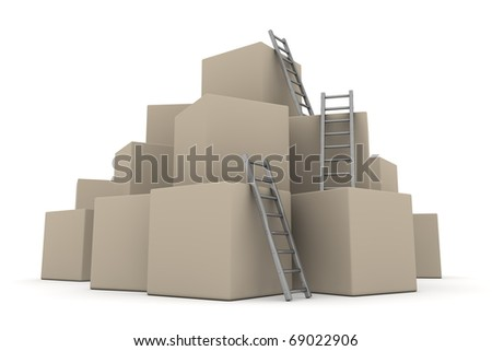 a pile of cardboard boxes - three grey glossy ladders are used to climb to the top