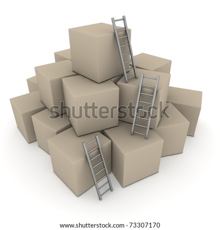 a pile of cardboard boxes - three grey glossy ladders are used to climb to the top - stock photo