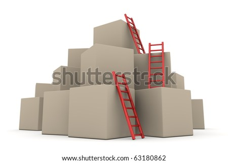 a pile of cardboard boxes - three red glossy ladders are used to climb to the top - stock photo