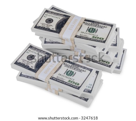 A Pile of cash made of One Hundred Dollar Bills U.S. over white