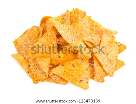 A pile of cheese covered tortilla chips isolated on a white background. - stock photo