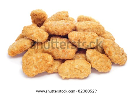 a pile of chicken nugget on a white background - stock photo