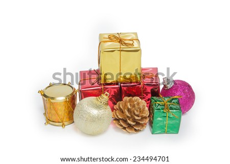 A pile of Christmas Decoration and Gift Box isolated on white background